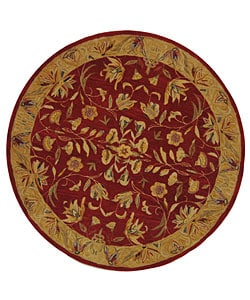 Handmade Hereditary Burgundy/ Gold Wool Rug (6' Round)