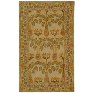Safavieh Handmade Ancestral Tree Ivory/ Green Wool Rug (3' x 5')