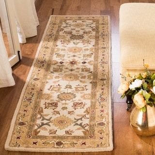 Handmade Heirloom Ivory/ Gold Wool Runner (2'3 x 10')