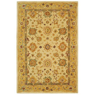 Safavieh Handmade Heirloom Ivory/ Gold Wool Rug (5' x 8')