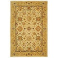 Handmade Heirloom Ivory/ Gold Wool Rug (5' x 8')