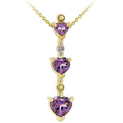 Glitzy Rocks Gold Plated Diamond Amethyst Heart Pendant