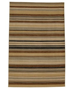 Hand-knotted Ansal Dark Brown Wool Rug (5' x 8')