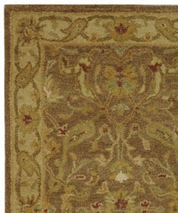 Handmade Antiquities Treasure Brown/ Gold Wool Runner (2'3 x 4')