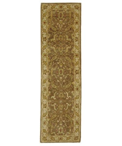 Handmade Antiquities Treasure Brown/ Gold Wool Runner (2'3 x 12')