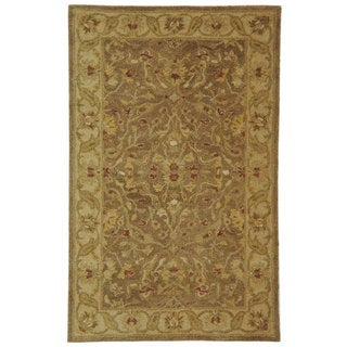 Handmade Antiquities Treasure Brown/ Gold Wool Rug (3' x 5')