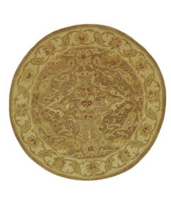 Handmade Antiquities Treasure Brown/ Gold Wool Rug (3'6 Round)