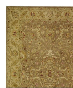 Handmade Antiquities Treasure Brown/ Gold Wool Rug (5' x 8')