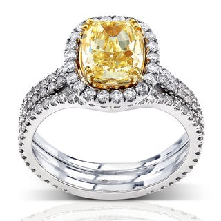 Annello 18k Gold 3ct TDW Fancy Yellow Diamond Ring