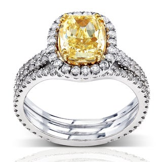 Annello 18k Gold 3ct TDW Fancy Yellow Diamond Ring with Bonus Item