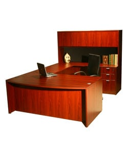 Boss Bow-front Work Station with Hutch
