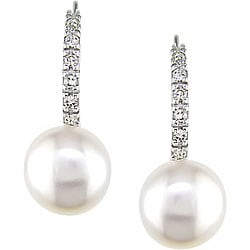 Miadora 14k Gold FW Pearl and 1/10ct TDW Diamond Earrings (8-9 mm) (H-I, I2-I3)