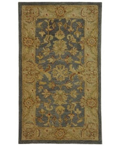 Handmade Antiquities Jewel Grey Blue/ Beige Wool Runner (2'3 x 4')
