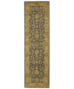 Handmade Antiquities Jewel Grey Blue/ Beige Wool Runner (2'3 x 12')