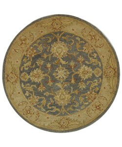 Safavieh Handmade Antiquities Jewel Grey Blue/ Beige Wool Rug (3'6 Round)