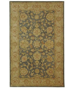 Handmade Antiquities Jewel Grey Blue/ Beige Wool Rug (5' x 8')