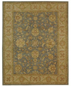 Handmade Antiquities Jewel Grey Blue/ Beige Wool Rug (7'6 x 9'6)