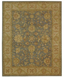 Handmade Antiquities Jewel Grey Blue/ Beige Wool Rug (8'3 x 11')
