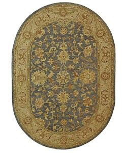 Safavieh Handmade Antiquities Jewel Grey Blue/ Beige Wool Rug (4'6 x 6'6 Oval)