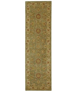 Handmade Antiquities Gem Green Wool Runner (2'3 x 8)