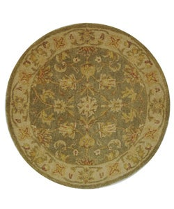 Handmade Antiquities Gem Green Wool Rug (3'6 Round)