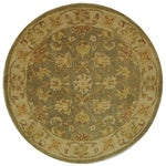 Handmade Antiquities Gem Green Wool Rug (6' Round)