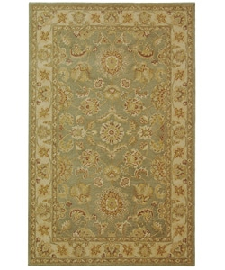 Handmade Antiquities Gem Green Wool Rug (6' x 9')