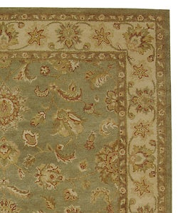 Handmade Antiquities Gem Green Wool Rug (7'6 x 9'6)