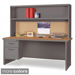 Marvel 60-inch Single Pedestal Steel Desk with Open Shelf