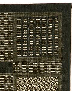 Indoor/ Outdoor Lakeview Black/ Sand Rug (2'7 x 5)