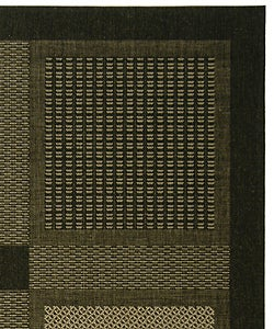 Indoor/ Outdoor Lakeview Black/ Sand Rug (4' x 5'7)