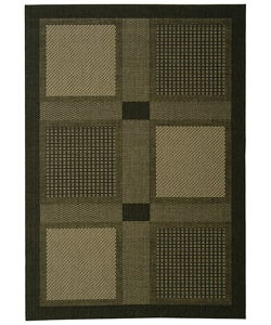 Indoor/ Outdoor Lakeview Black/ Sand Rug (4' x 5'7)