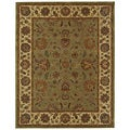 Handmade Heritage Kerman Green/ Gold Wool Rug (7'6 x 9'6)