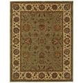 Safavieh Handmade Heritage Kerman Green/ Gold Wool Rug (7'6 x 9'6)
