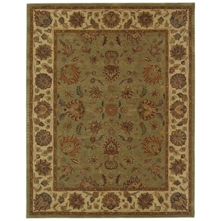 Handmade Heritage Kerman Green/ Gold Wool Rug (8'3 x 11')