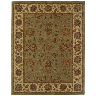 Handmade Heritage Kerman Green/ Gold Wool Rug (9'6 x 13'6)