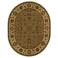 Handmade Heritage Kerman Green/ Gold Wool Rug (4'6 x 6'6 Oval)