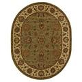 Safavieh Handmade Heritage Kerman Green/ Gold Wool Rug (4'6 x 6'6 Oval)