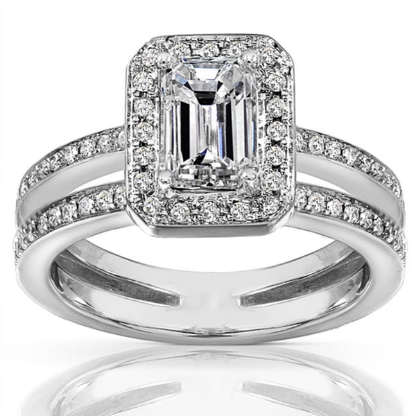 Annello 14k Gold 1 1/3ct TDW Emerald Cut Diamond Ring (H-I, SI1-SI2)