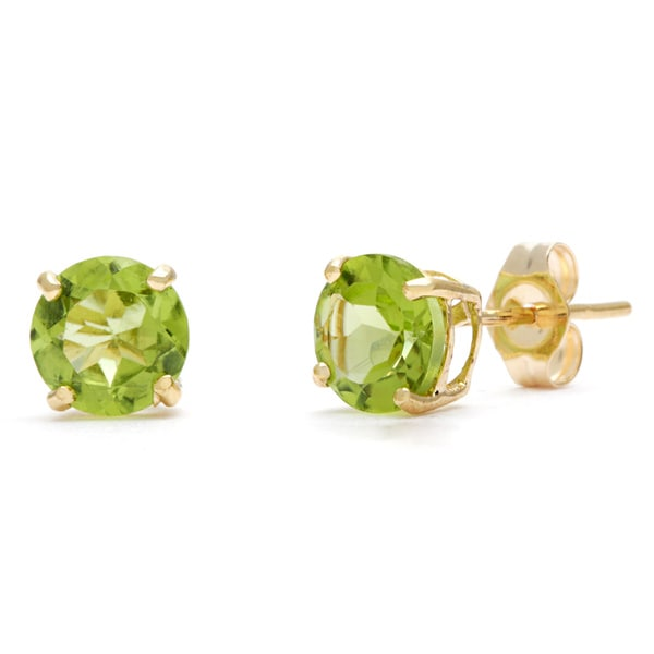 Kabella 14k Yellow Gold Birthstone Round Peridot Stud Earrings