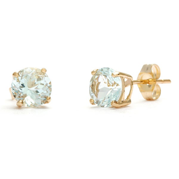 Kabella 14k Yellow Gold Round Aquamarine Stud Earrings