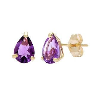 Kabella 14k Yellow Gold Pear Amethyst Stud Earrings