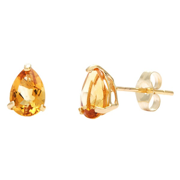 Kabella 14k Yellow Gold Pear Citrine Stud Earring