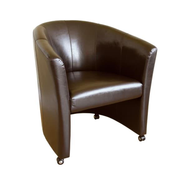 Eaton Brown Faux Leather Club Chair Overstock