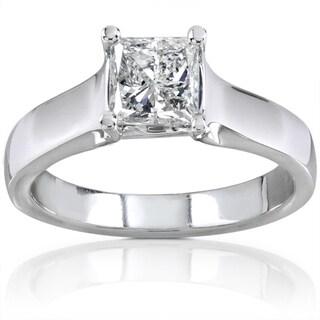 Annello 14k Gold 1ct TDW Princess Diamond Solitaire Ring (H-I, I1-I2)