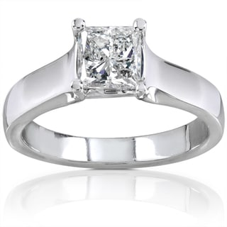 Annello 14k Gold 1ct TDW Princess Diamond Solitaire Ring (H-I, I1-I2)
