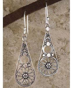 Sterling Silver Filigree Drop Earrings (Israel)