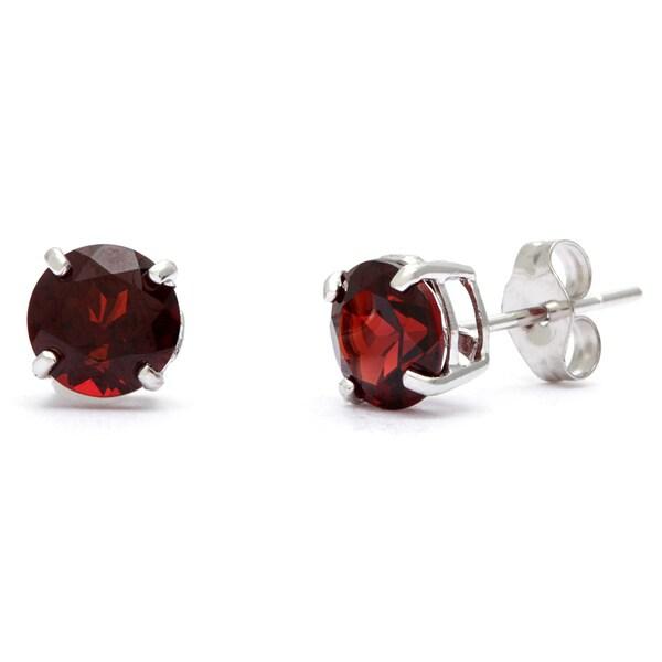 Kabella 14k White Gold Round Garnet Stud Earring