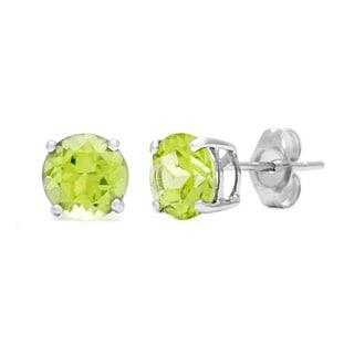 Kabella 14k White Gold Birthstone Round Peridot Stud Earring