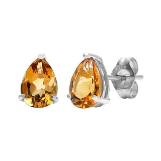 Kabella 14k White Gold Pear Citrine Stud Earring